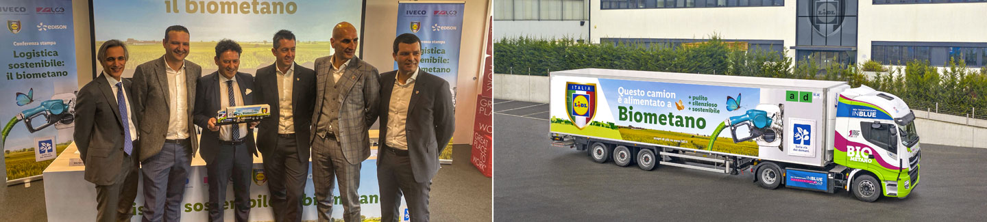 Sustainable turning point in the heavy-duty transport sector: Lidl, IVECO, LC3 and Edison introduce the first biomethane-fuelled vehicles in the retailer's Italian fleet