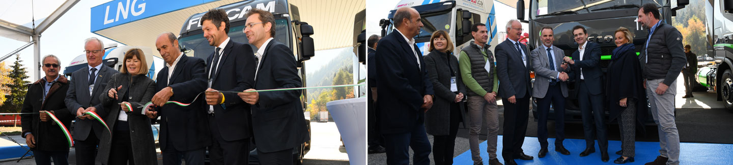 IVECO, a leader in sustainable transport, attends the opening of the first LNG refuelling station in the Alto Adige region and delivers the first Stralis NP LNG vehicles in FERCAM's fleet
