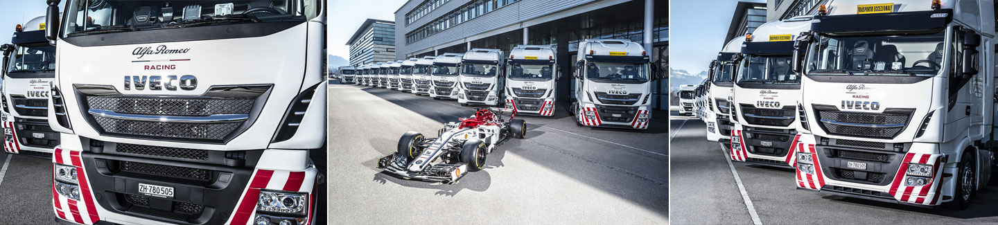 IVECO is Official Truck Partner of Alfa Romeo Racing and delivers fleet of vehicles for the team's logistics