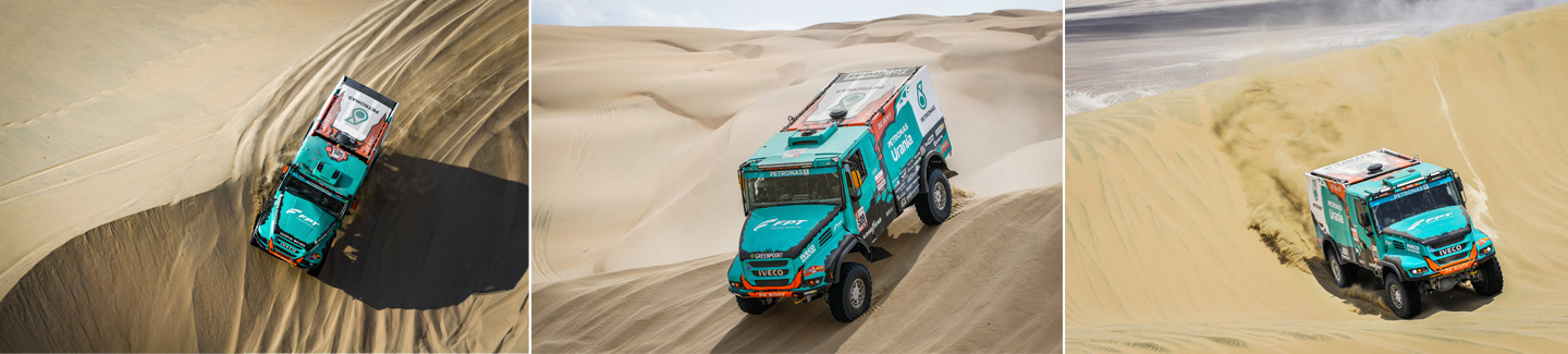 Team PETRONAS De Rooy IVECO places three trucks in the Top 5 in Stage 2 of Dakar Rally 2019